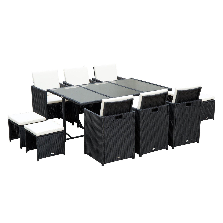 Outsunny Set di Mobili da Giardino Esterno Set da Pranzo 11pz con Cuscini PolyRattan Nero