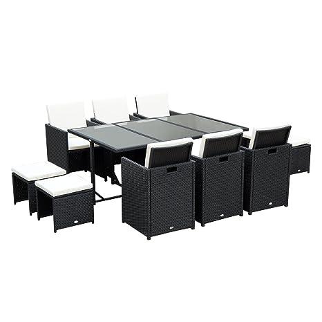 Tavoli In Vimini Da Giardino.Outsunny Set Mobili Da Giardino In Rattan Tavolo Da Pranzo Set