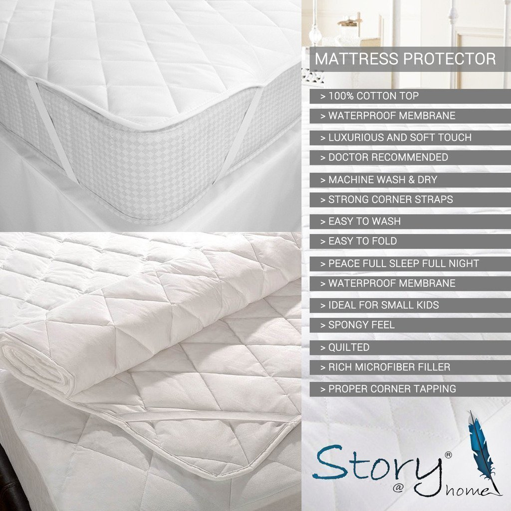 buy story home premium cotton single mattress protector white