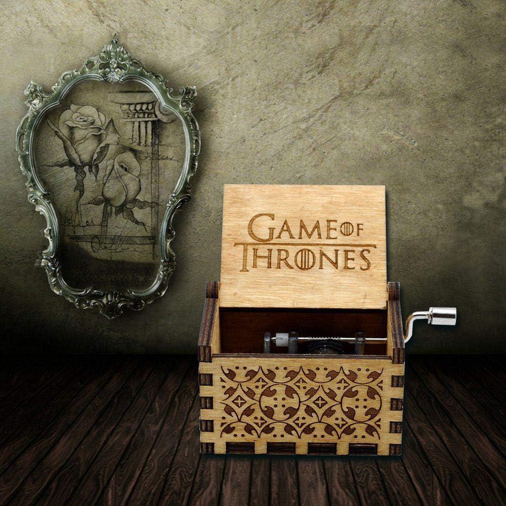 Bo/îte /à Musique Game of Thrones MOGOI Antique manivelle main sculpt/ée en bois bo/îtes /à musique plus beau cadeau pour No/ël anniversaire