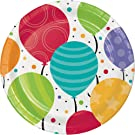 96-Count Dessert/Small Paper Plates, Shimmering Balloons
