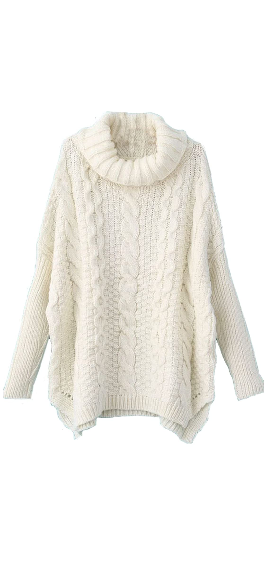 Women's Turtleneck Chunky Cable Knit Basic Sweater
