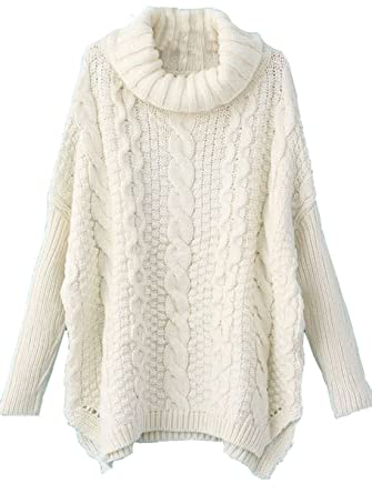 Milumia Women's Turtleneck Chunky Cable Knit Basic Sweater M / US ...