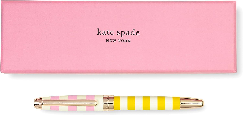 Kate Spade New York Black Ink Ballpoint Pen, Two-Tone Stripe (pink)