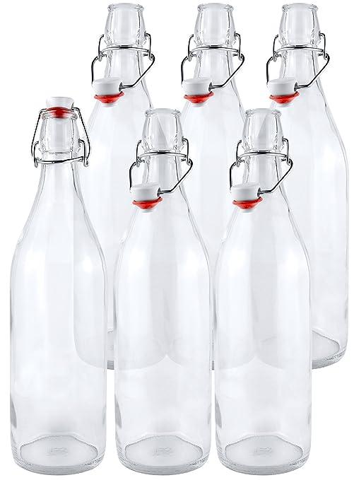 Estilo Swing Top fácil tapa de vidrio transparente botellas de ...