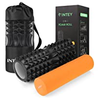 INTEY Faszienrolle Set 2 in 1 Foam Roller Gymnastikrolle für Triggerpunkt-Massage, Massagerolle zur Selbstmassage mit Tragetasche beim Faszientraining, Blackrolle/Orange Rolle