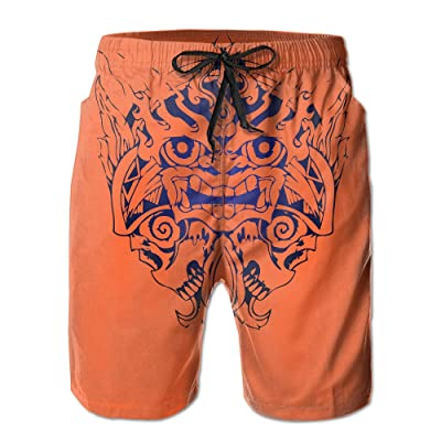 Lion Skull Head Newest Men's Workout&swim Trunks Quick Dry Board Shorts With Pockets And Drawstring