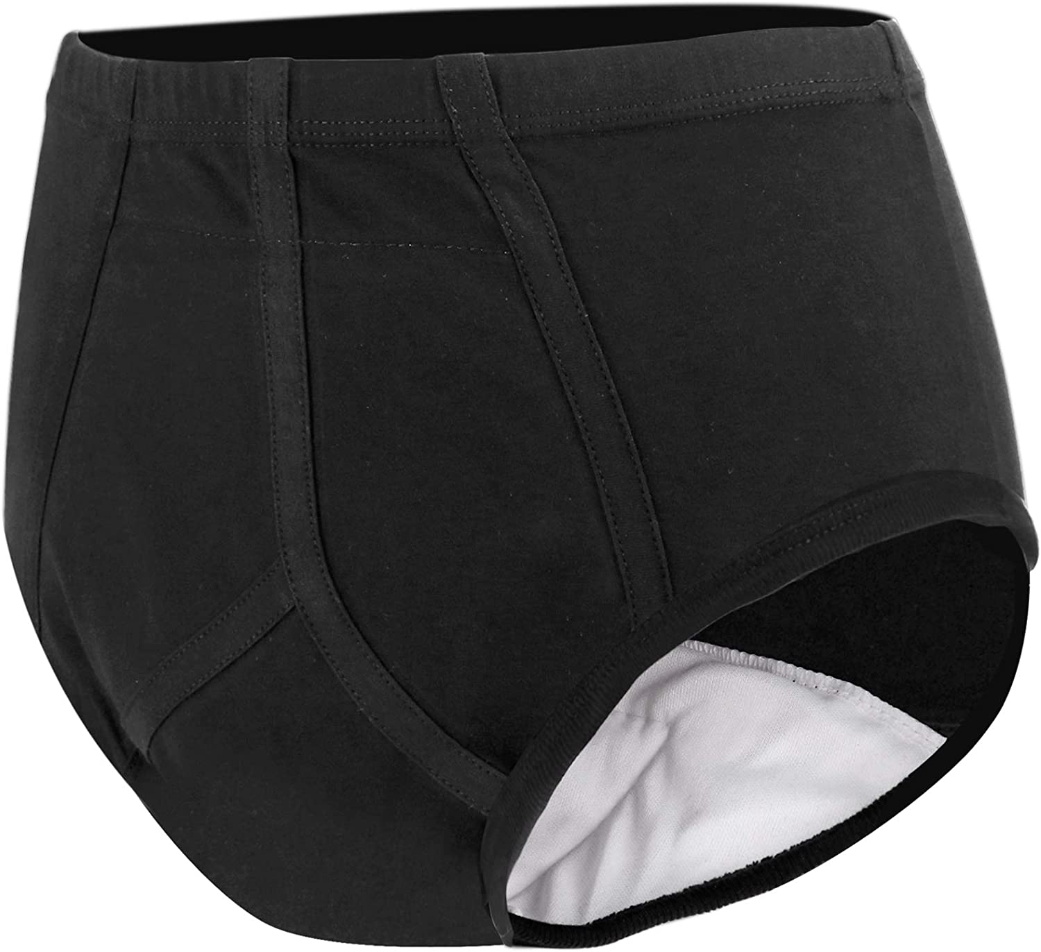 Men's Incontinence Underwear with Built in Absorbent Pad Surgical Recovery Washable Reusable Incontinence Briefs for Prostate Surgery (Black, Large): Health & Personal Care