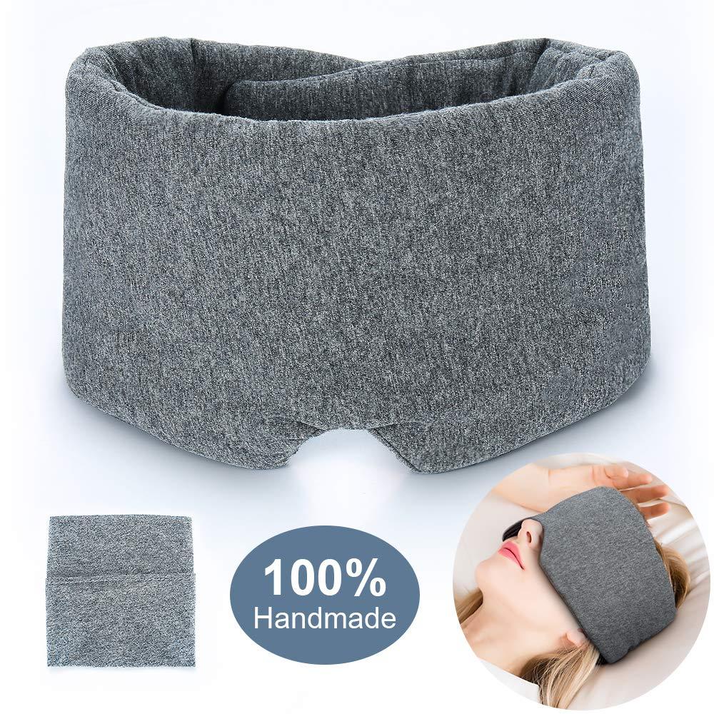 2087c208 Amazon.com: 100% Handmade Cotton Sleep Mask Blackout - Comfortable &  Breathable Eye Mask for Sleeping Adjustable Blinder Blindfold Airplane with  Travel ...