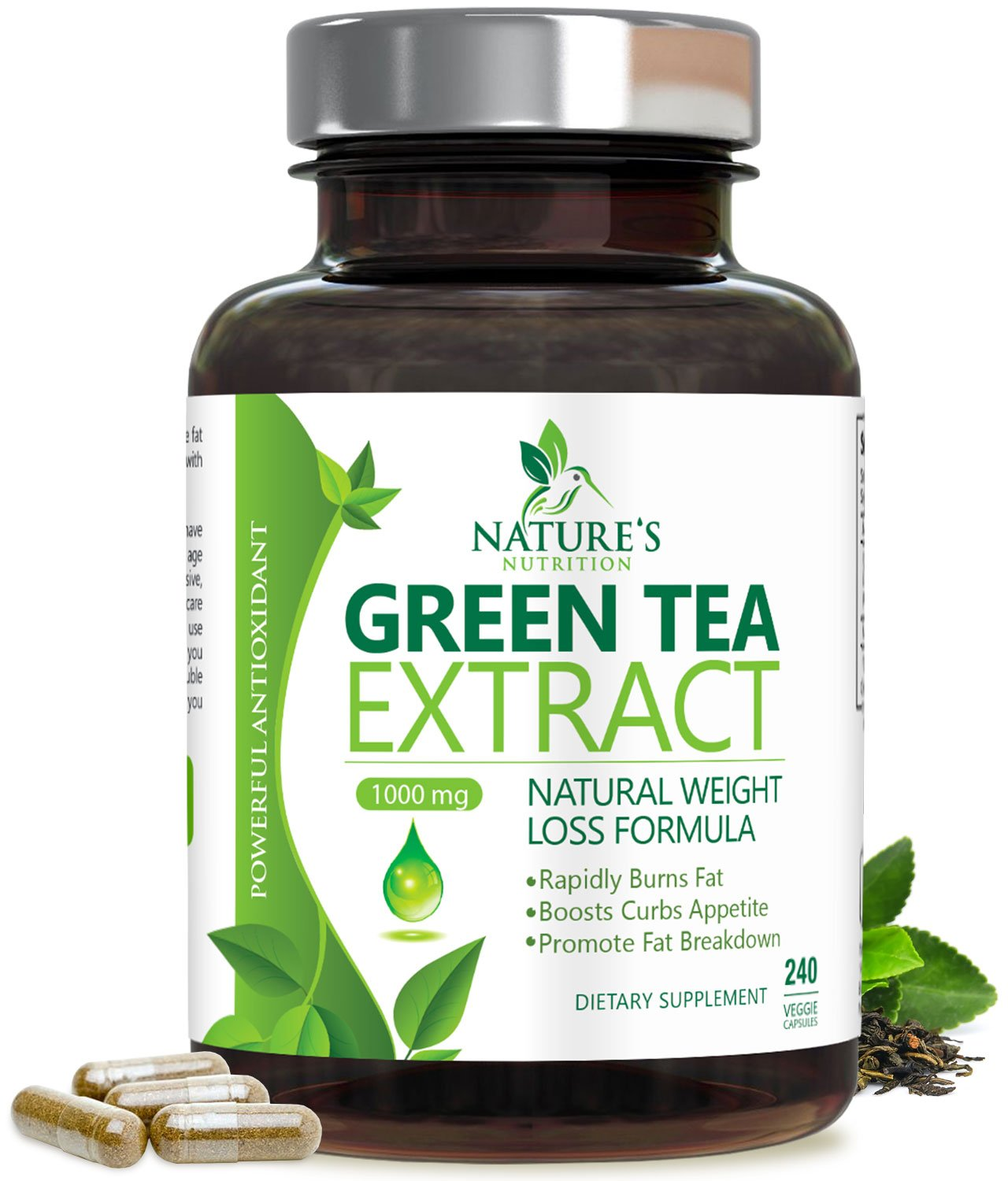 Green Tea Extract 98% with EGCG for Weight Loss 1000mg - Boost Metabolism for Healthy Heart - Antioxidants & Polyphenols for Immune System - Gentle Caffeine - Natural Fat Burner Pills - 240 Capsules