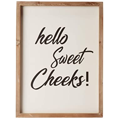 Cam n Honey Funny Rustic Wooden Bathroom Sign-Hello Sweet Cheeks Farmhouse Home Decor-12x16 inches Wood Framed Wall Hanging Quote Sign