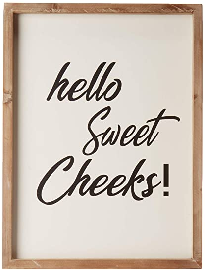 Cam N Honey Funny Rustic Wooden Bathroom Sign Hello Sweet Cheeks Farmhouse Home Decor 12x16 Inches Wood Framed Wall Hanging Quote Sign
