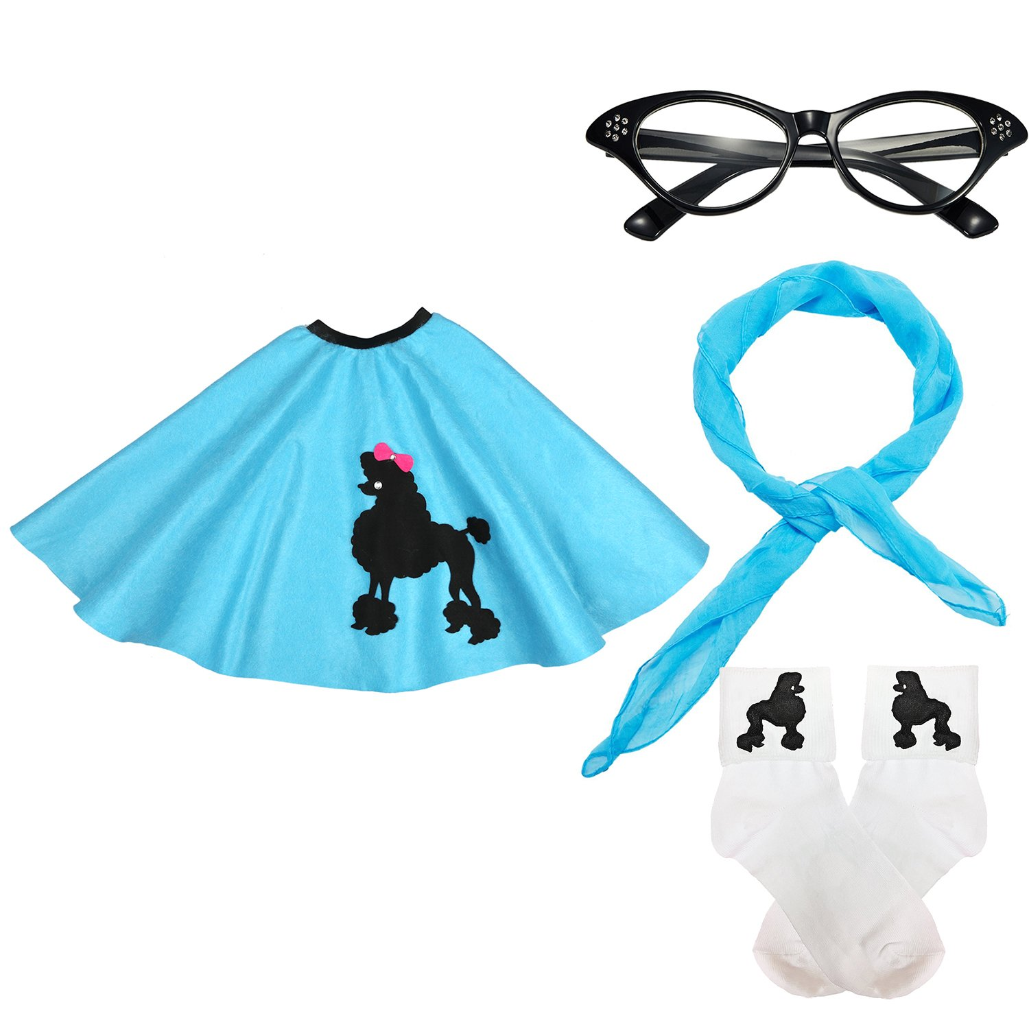50s Girls Costume Accessory Set - Poodle Skirt, Chiffon Scarf, Cat Eye Glasses,Bobby Socks Blue QN50sSkirt-BL