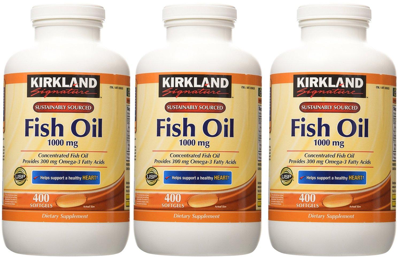 Kirkland Signature Fish Oqnti Oil 1000 Mg 400 Softgels Vitamin C 1000mg Pack Of 3 Health Personal Care