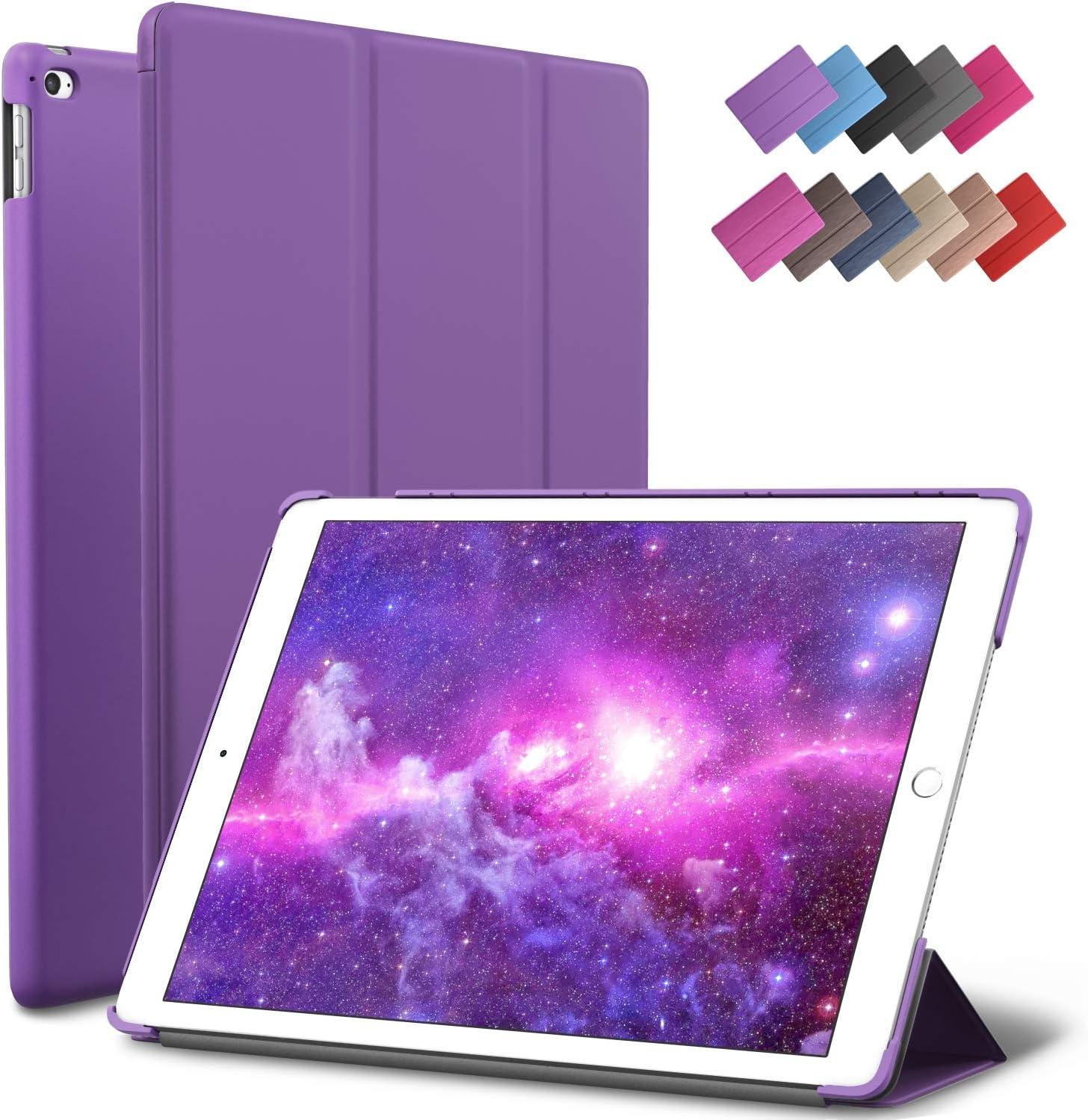 iPad Mini 4 case, ROARTZ Purple Slim Fit Smart Rubber Coated Folio Case Hard Cover Light-Weight Auto Wake/Sleep for Apple iPad Mini 4th Generation Model A1538/A1550 Retina Display