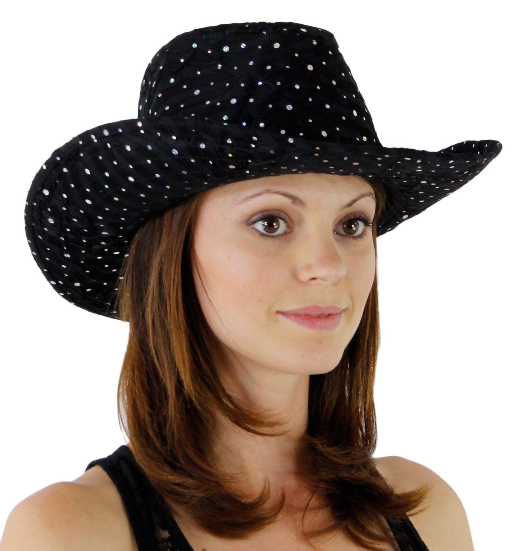 Glitter Sequin Trim Cowboy Hat Black One Size