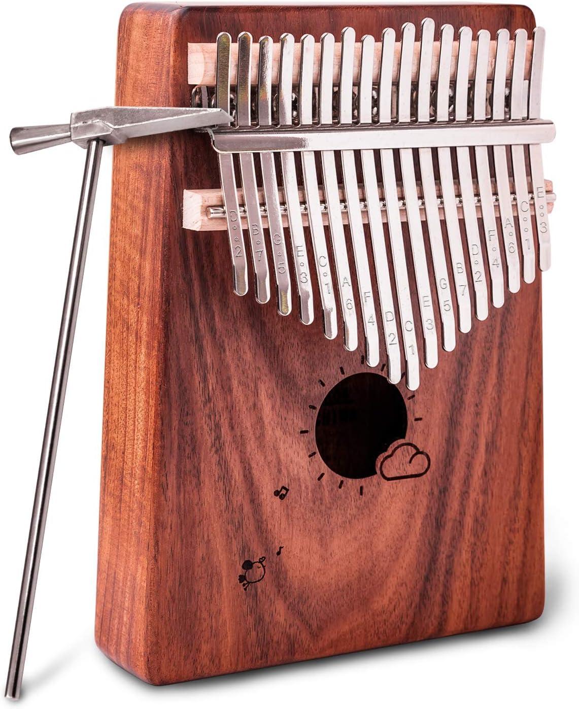 Finger Piano NASUM 17 Key Kalimba Thumb Piano Pocket Thumb Piano Mahogany Body for Beginners and Advanced Player Finger Percussion Keyboard with Instruction and Tune Hammer