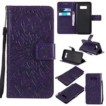 official photos 7b983 93300 KKEIKO Galaxy S8 Case, Galaxy S8 Flip Leather Case [with Free Tempered  Glass Screen Protector], Shockproof Bumper Cover and Premium Wallet Case  for ...