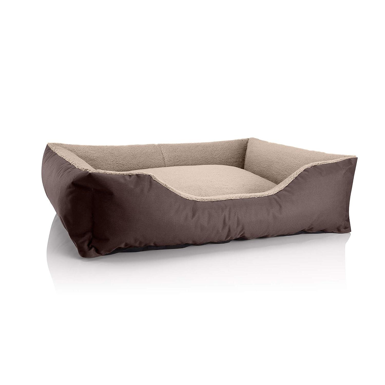MELANGE (brown beige) XL (ca. 100x85cm)BedDog dog cat sofa TEDDY S to XXXL, 14 colours to choose, made from Cordura & Microfiber Velor, washable dog bed, dog cushion, indoor & outdoor use, size XXXL, grey grey