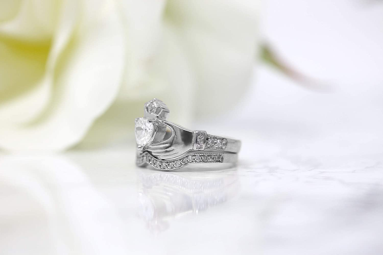 CaliRoseJewelry Sterling Silver Irish Claddagh Cubic Zirconia Ring Set JewelryDepotUSA MKR15-SET-S-CZ-4 Size 4