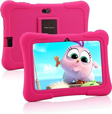 Pritom Tablet para niños de 7 Pulgadas | Quad Core Android, 1GB RAM + 16GB ROM