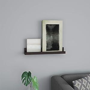 Lavish Home Floating Wall Ledge Hidden Brackets Display Shelf for Photos, Frames, Artwork, Decor, More-Hardware Included (Dark Brown)