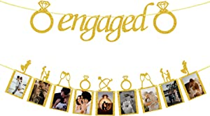Engagement Wedding Decorations, Gold Engaged Banner and Photo Banner with Romantic Memories Picture Card Frames for Engaged/Wedding/Anniversary/ValentinesDay Party