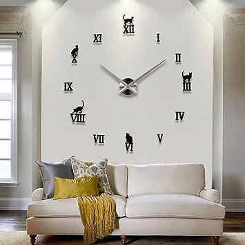 New 3d Diy Wall Clock Large Decorative Wall Clock Modern Design Mirror Sticker Metal Big Watches Roman Numeral Scales Home Decor