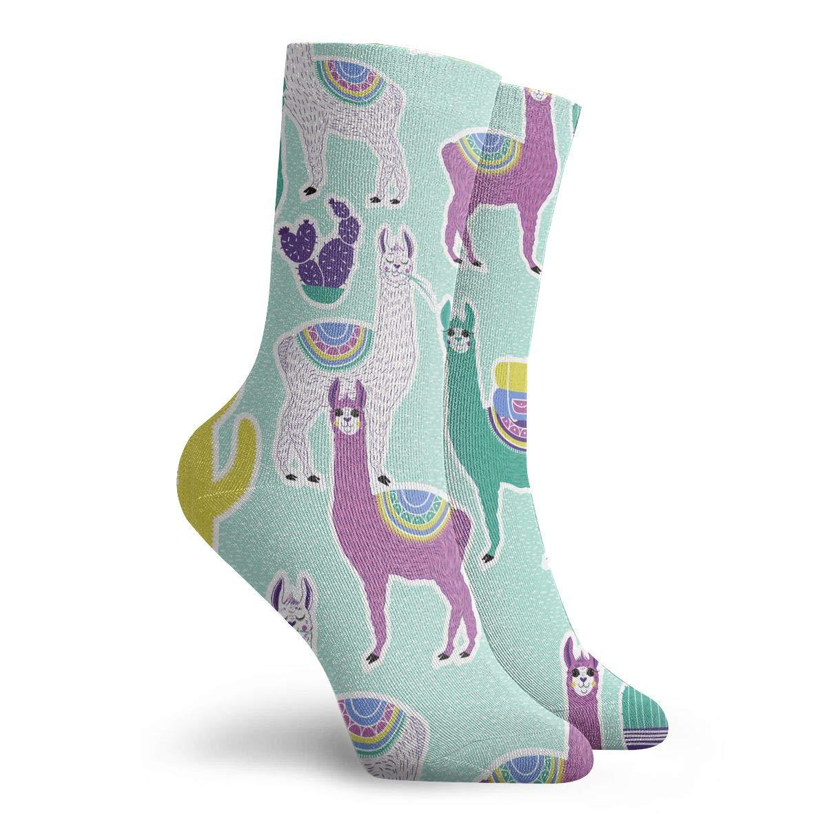 Sweet Llama Or Alpaca And Cactus Fashion Dress Socks Short Socks Leisure Travel 11.8 Inch