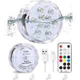 Qoolife Rechargeable Magnetic Submersible Led Lights – Radio Frequency Controlled USB Charging IPX8 Waterproof Colorful WRGB