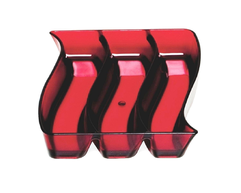 Outlook Design Wave Piattino per Servire L Aperitivo 16 x 19 cm Ciotola Porta Salatini Rosso Metacrilato