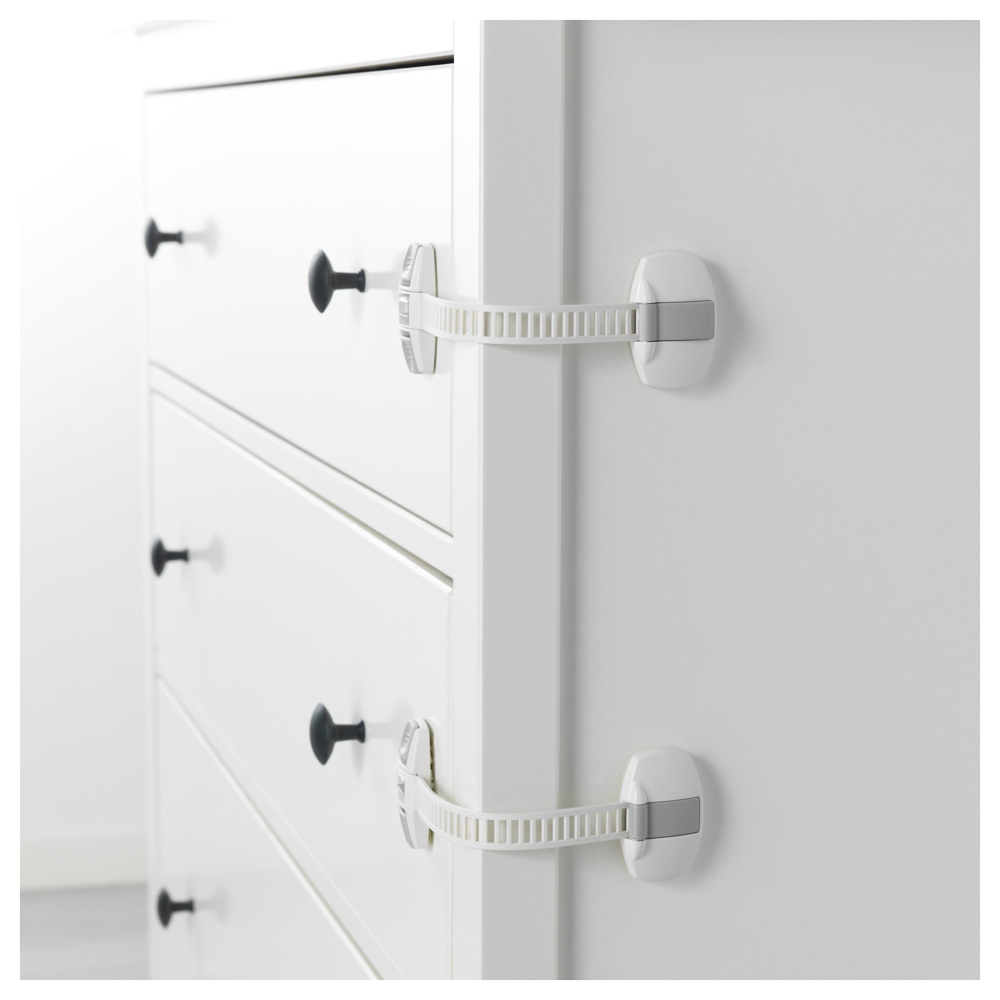 IKEA Patrull Locking Child Safety Latches For Fridge, Trash Can, Toilet, Dresser Drawers, Medicine Cabinet - Can Be Used in Kitchen, Baby's Room, Bathroom, Bedroom