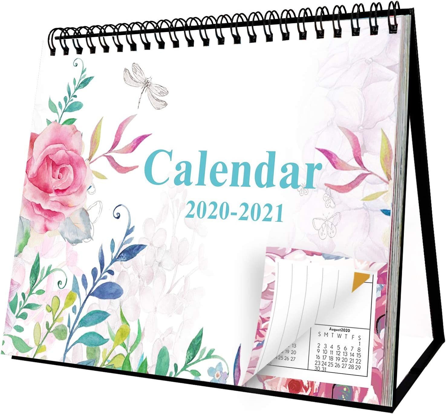 Desk Calendar 2020-2021 School Year Desk Calendar 2020 18 Months Flip Desktop Counter Top Calendar 8'' x 6'' Beautiful Floral Standing Easel Table Calendar