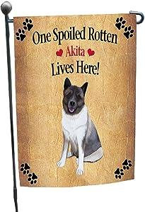 Akita Spoiled Rotten Dog Garden Flag