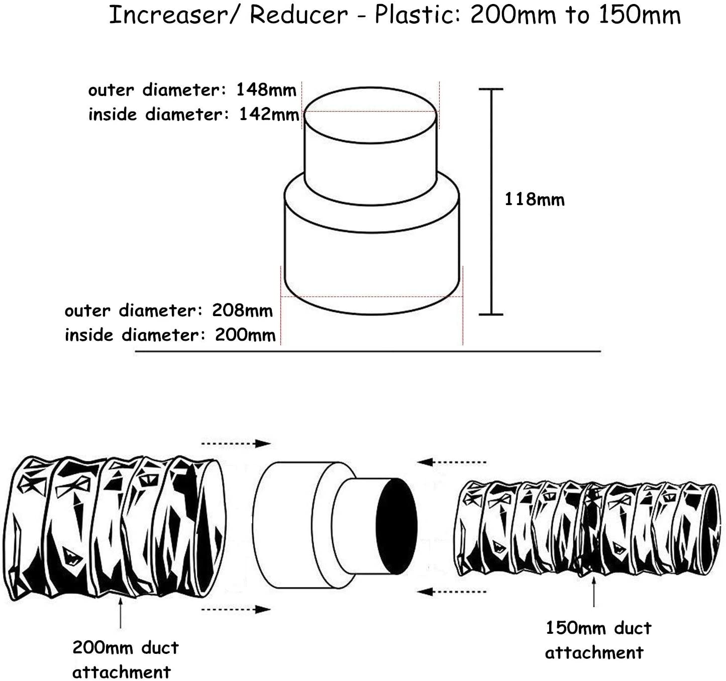 300mm to 160mm Diameter Reducer Ventilation hydroponics ducting Extraction
