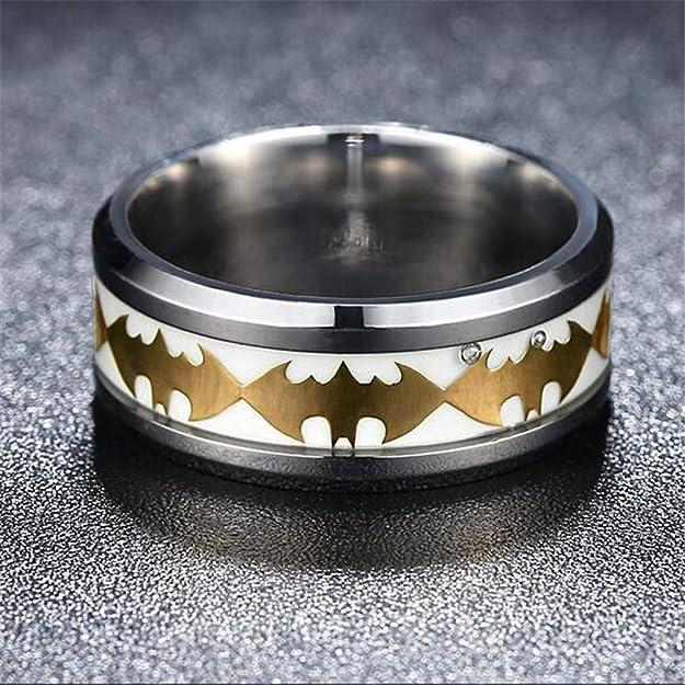IVERIRMIN Titanio Acero Golden Batman Silver Edge para Hombre Anillo: Amazon.es: Joyería