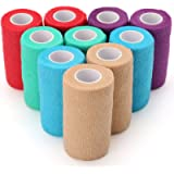 Vet Self-Adhesive Cohesive Wrap Bandage Tape by LotFancy, Elastic Non-Woven, 10 Rolls, Assorted Colors