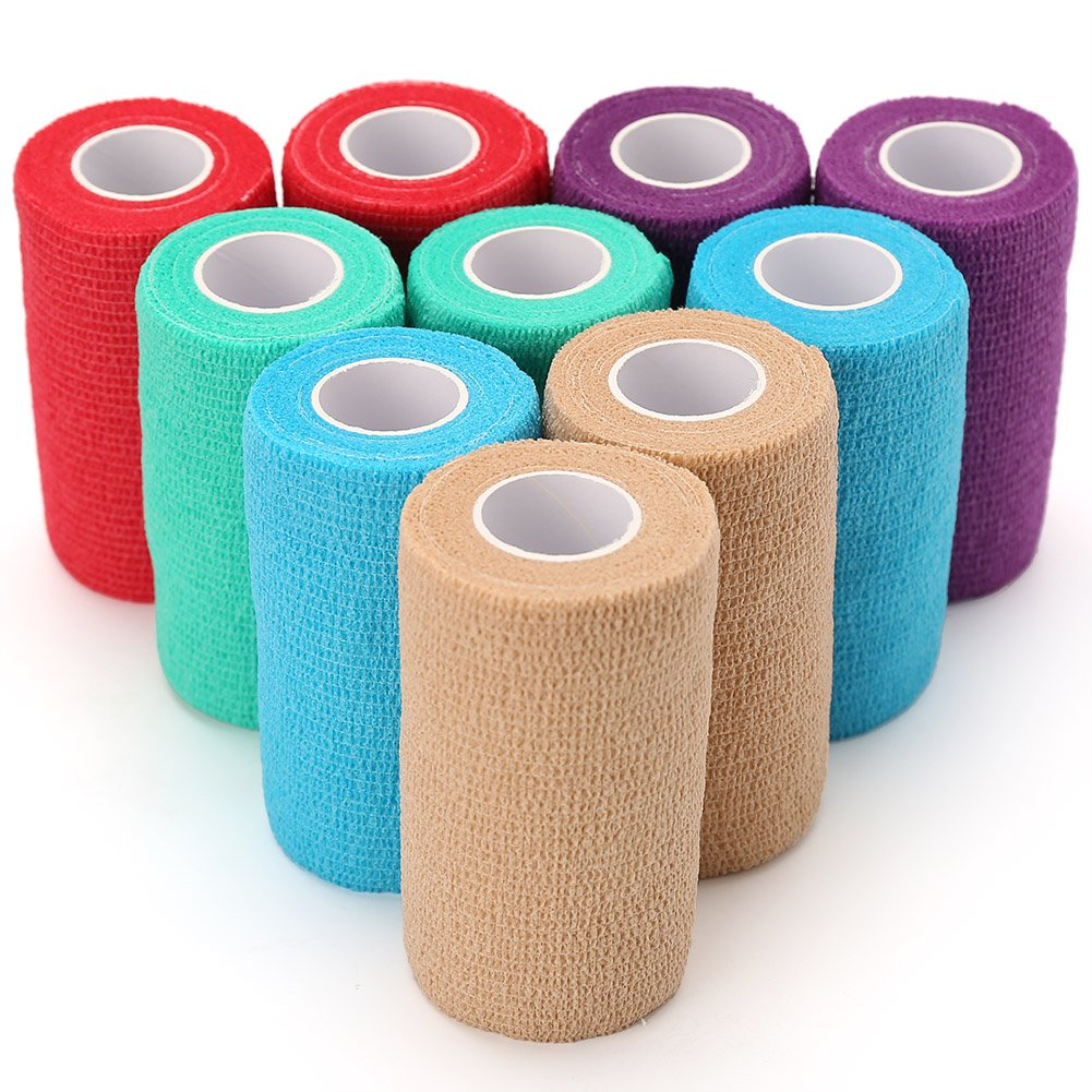 LotFancy Vet Wrap for Dogs Horses Cat Pet - 4 Inches x 5 Yards, 10 Rolls, Self-Adherent Cohesive Bandage Tape, Assorted Colors by LotFancy