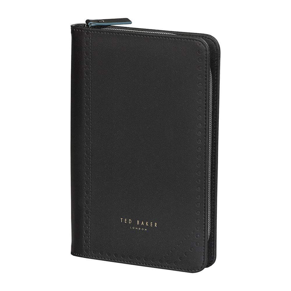 Black Ted Baker ATED459 Brogue Monkian Faux Leather Zipper Travel Organizer with Ballpoint Pen