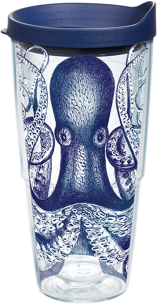 Tervis 1145813 Octopus Tumbler with Wrap and Navy Lid 24oz, Clear
