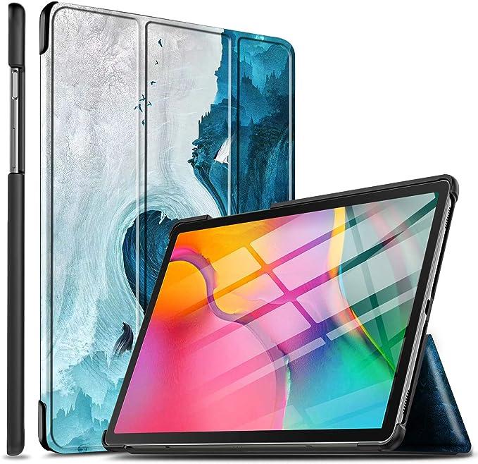 Lightweight Pelle con Funzione di Stand Flip Copertina per Huawei MediaPad T5 10 10.1 2018,Brown Tower ELTD Custodia Cover per Huawei MediaPad T5 10