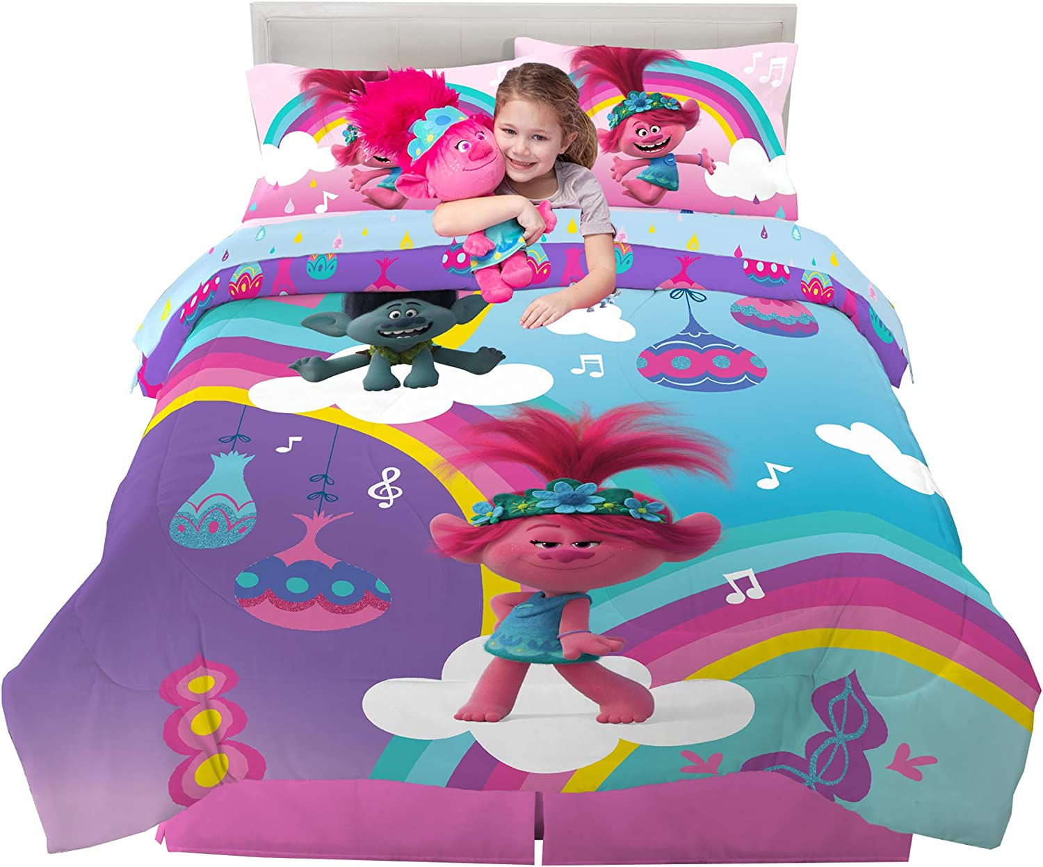 Franco Kids Bedding Super Soft Comforter with Sheets and Plush Cuddle Pillow Set, 6 Piece Full Size, Trolls World Tour