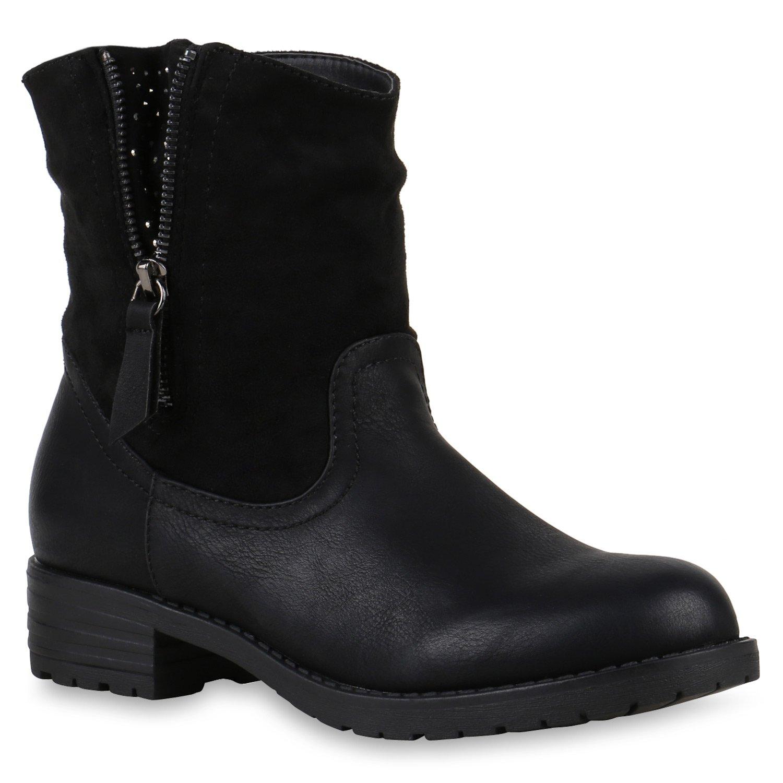 Stiefelparadies Damen Stiefeletten Biker Boots Brooklyn Leicht Gefüttert Flandell Schwarz Brooklyn Boots 0a373f