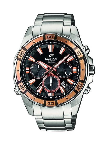 Casio Edifice - Reloj de cuarzo para hombre, con correa de acero inoxidable, color plateado: Amazon.es: Relojes