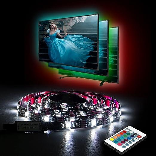 Tira LED USB para TV Aocerbek lluminación De Retroiluminación LED Impermeable USB LED Tira Pilas De Luz Con Control Remoto para HDTV PC de escritorio Multicolor-2 metros: Amazon.es: Iluminación