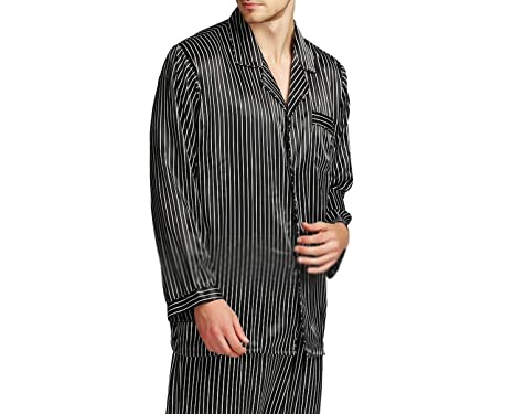 Beancan Mens Silk Satins Set Pyjamas Pjs Sleepwear Set Loungewear U.S S M L XL XXL 3XL 4XL