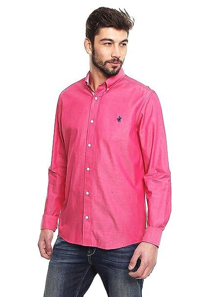 Rock Hampton Camisa Rosa Manga Larga Camisa para Hombre Rosa Talla S ... f6f4ebd24c2