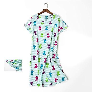 119a37d63f Summer Women Nightdress Home Dress Plus Size Loose Short Sleeve 100% Cotton  Sleepwear Pyjamas Night