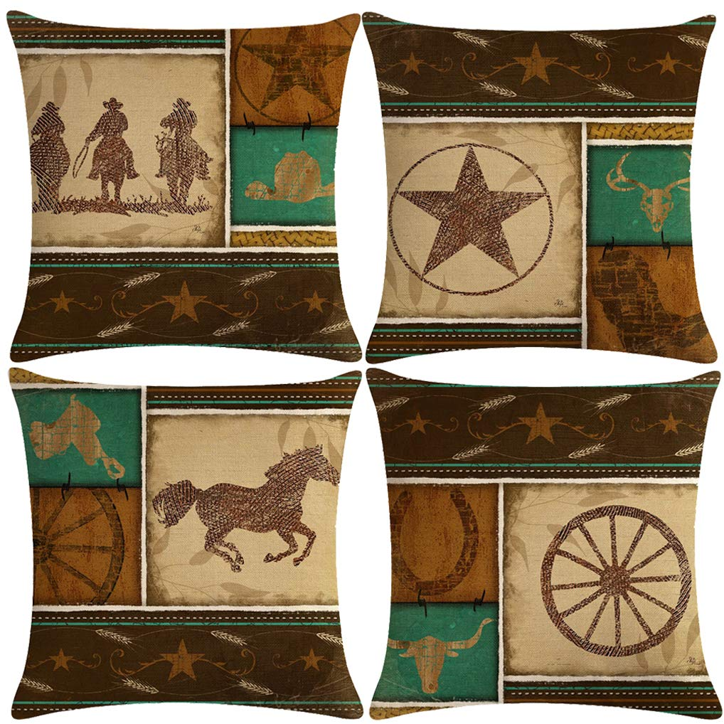 "7COLORROOM Set of 4 Vintage Western Cowboys Pillow Covers Wild West Cowboy Riding Horses Theme Cushion Cover Cotton Linen Home Decorations Pillowcases 18"" x 18"" (West Cowboy)"
