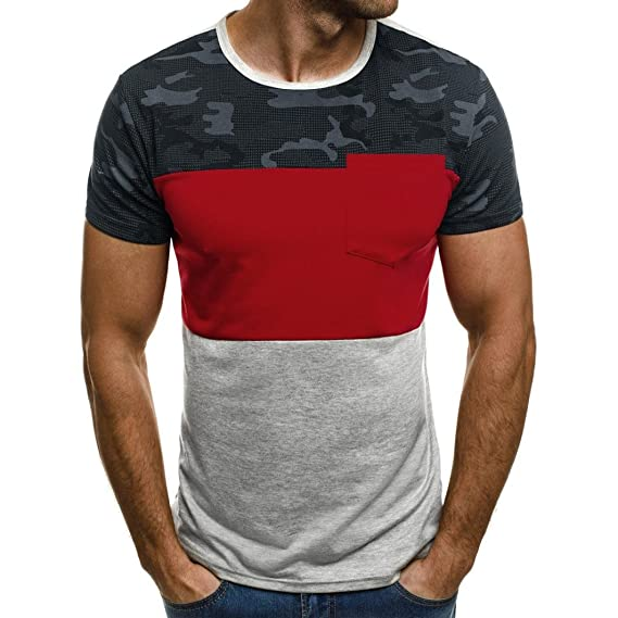 a5a7d3fa650 Pervobs Men Shirts Clearance! Men Summer Casual Shirts Muscle T-Shirt Slim  Fit Short Sleeve Camouflage Pocket Blouse Top at Amazon Men s Clothing  store